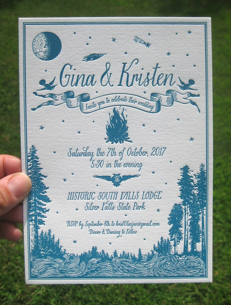 Simply Rustic With Campfire Letterpress Wedding Invitation