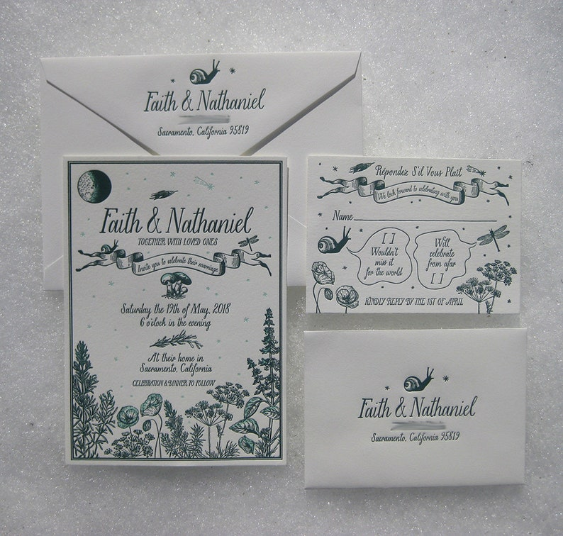 Rosemary Basil Custom Letterpress Wedding Invitation Suite