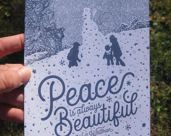Peace is Always Beautiful Letterpress Holiday Card Pack of 10