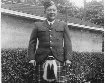 Vintage Photo - Man in Skottish Kilt - 1940's Original Photo - Proud Military Man - Plaid Kilt Skirt -Black & White - Snapshot -Small Photo