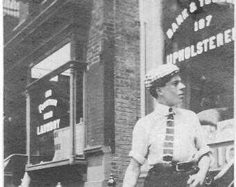 Vintage Photo - Upholsterer Shop - 1920s-30s Original - Store Front - Man with Dog - Laundry- Black & White - Snapshot - Vernacular Photo