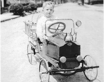 Vintage Photo - Little Boy in Peddle Car - 1930s-40s - Original -Unique Childrens Toy Car - Cute Boy-One of a Kind - Black & White- Snapshot