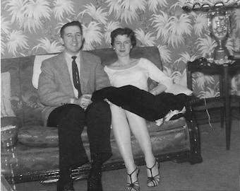 Vintage Photo - Attractive Couple - 1940's Original Photo - Happy - Date Night - Fancy Wallpaper - Forties Decor - Black & White - Snapshot