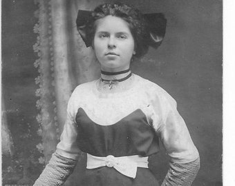 Antique RPPC Real Photo Postcard - Pretty Young Woman - 1904-1918 - Women's Fashion - Hair Bow - Cameo Pin - Fancy Dress