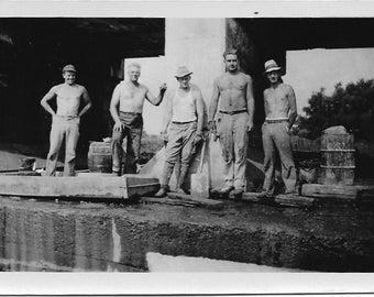Vintage Photo - Men Without Shirts - Original Photo - Black & White - Snapshot -Vernacular Photo - Friendship