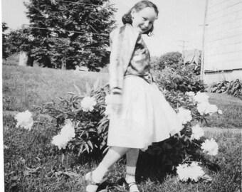 Vintage Photo - Cute Young Girl Posing for Camera - Peony Flowers - Original Photo - Black & White - Vernacular Photo