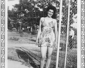 Vintage Photo - Pretty Woman in Floral Swimsuit - 1930's-40s Original Photo - Pool Tag on Ankle - Black & White - Snapshot -Vernacular Photo