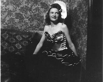 Vintage Photo - Pretty Woman in Sexy Satin Dress - 1940's Original - Brunette - Low Light - Provocative - Black & White -Snapshot
