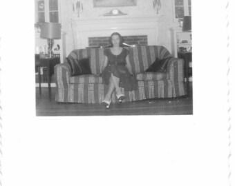 Vintage Photo - Pretty Young Woman Sitting on Sofa - 1940s Original - Living Room Decor - Black & White - Unique Photo Format - Snapshot