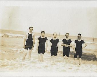Antique RPPC Real Photo Postcard - Men in Swimsuits - 1904-1918 Original - Black Bathing Suits - Five Men Standing in Ocean - Black & White