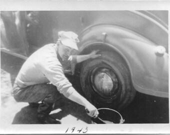 Vintage Photo - Man Changing Tire on Vintage Car - 1940's Original Photo - Black & White - Snapshot - Vernacular Photo