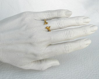 Gold Snake rib bone Adjustable band ring 10K 14K 18K Gold Horseshoe Open Band Indie Taxidermy Jewelry Til Death Wedding Ring
