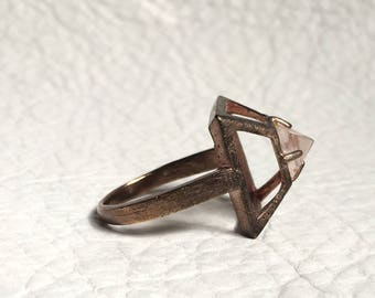 Antiqued Rose Gold Plated Pyramid Structure Ring with ROSE QUARTZ capstone Pyramid Quartz Jewelry Size 8.5