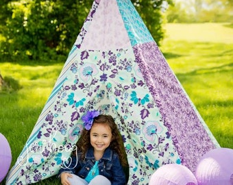 Child Toddler Kid's Play Teepee/Tent Hideaway in Mod Floral Poetica In Sea Foam Lavender Purple Turquoise Teal