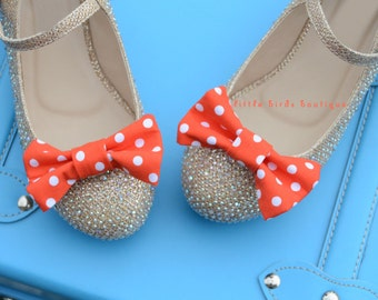 READY to SHIP! 1 Pair Orange Polka Dot Fabric Bow Shoe Clips - Girls Wedding Accessories, Bride, Bridesmaid, Wedding Shoes, Birthday Party