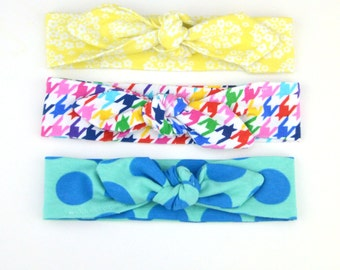 READY TO SHIP! Top Knot Cotton Jersey Headband, Head Wrap, Tie Headband- for all ages
