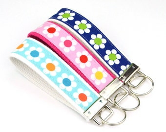 BUY 4 GET 1 FREE- Keychain Wristlet- Key Fob in Remix Daisies for Robert Kaufman Blue Pink Navy