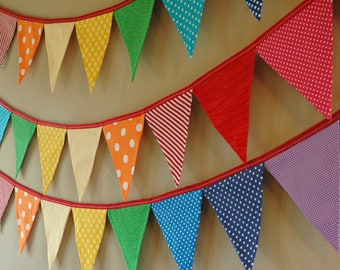 READY to SHIP! Reusable Fabric Bunting, Banner, Pennant, Flag, Garland, Photo Prop, Decoration in Rainbow Party