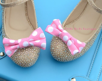 READY to SHIP! 1 Pair Pink Polka Dot Fabric Bow Shoe Clips, Wedding Accessories, Bride, Bridesmaid, Wedding Shoes, Birthday Party, Easter