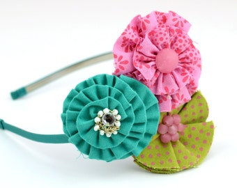 Turquoise Pink Green Flower Headband Trio, with Polk a dot Fabric, Rhinestones, Bling for Toddlers and Girls
