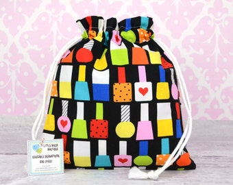 Reusable Drawstring Bag for Toys, Gifts, Crafting, Travel, Storage, Party, Gift, This & That by Ann Kelle, Nail Polish Bottles in Primary