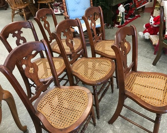 Beautiful Antique Dining Chairs, Set Of 6, Pierced Splat Back,Cane Seats