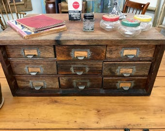 Superbe Antique Oak Cabinet, Pine,Galvanized Drawers,Mercantile Country Store  Cabinet, Hardware Store Cabinet, Industrial, Watchmakeru0027s