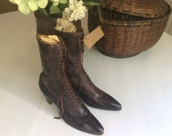 Antique Leather Civil War Era Boots, Ladies 1800's Leather Boots, Vintage Clothing, Museum Quality