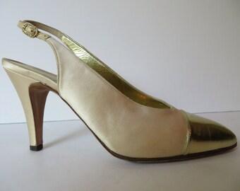 85e0f371f96 Vintage Chanel Ivory Satin Slingbck Heels Spectator Gold Size 7.5M