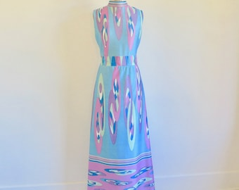 60s mod dress floral Pucci style drawn waist short sleeve grey red border print vintage