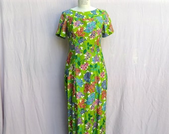 a0e0d6f96a70 Vintage Hawaiian Green Floral Print Long Maxi Dress with Train Luau, Alice,  Medium
