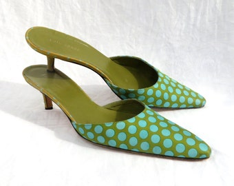 13c1d8f312a9 Vintage 1990 s Kate Spade Blue Green Polkadot Mules Kitten Heels Pointed  Toes Size 8.5M US