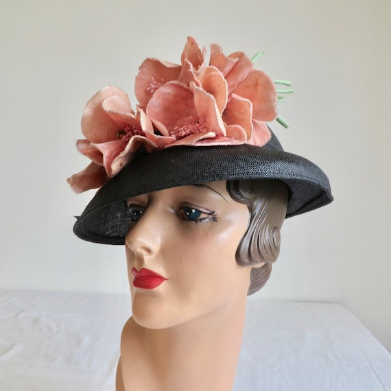 Vintage 1930's 40's Navy Blue Sial Straw Hat with