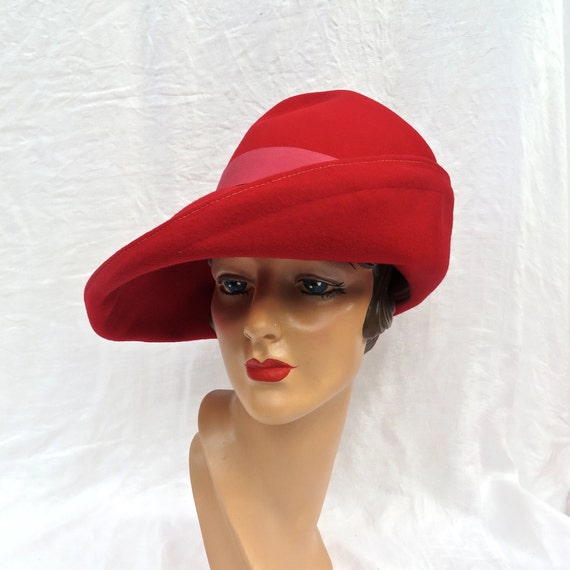 Vintage 1980 s Philip Treacy Style Red Wool Fedora Large  dc3b21a4fa43