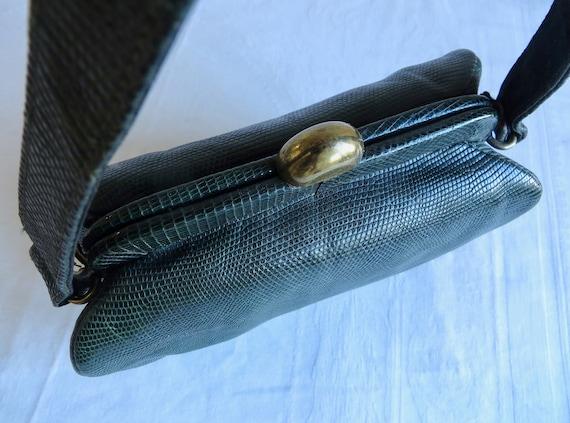 1940's 50's Green Snakeskin Leather Box Purse Str… - image 7