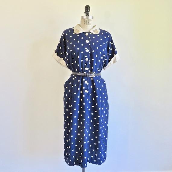 Vintage 1940s Shirt Dress small 40s Clock Floral Novelty Print Cotton Blue Shirtwaist Day Dress