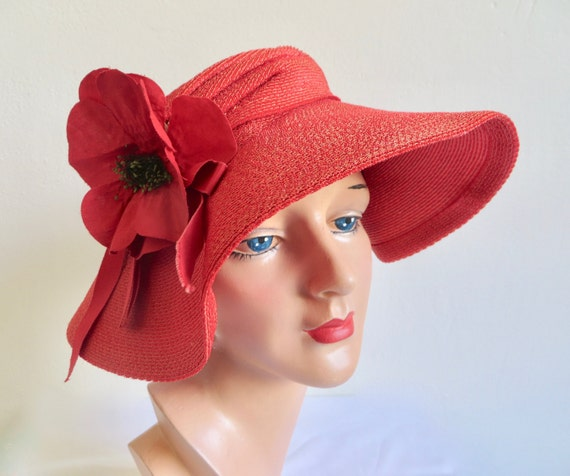 Vintage 1940's Coral Red Straw Wide Brim Hat Popp… - image 2