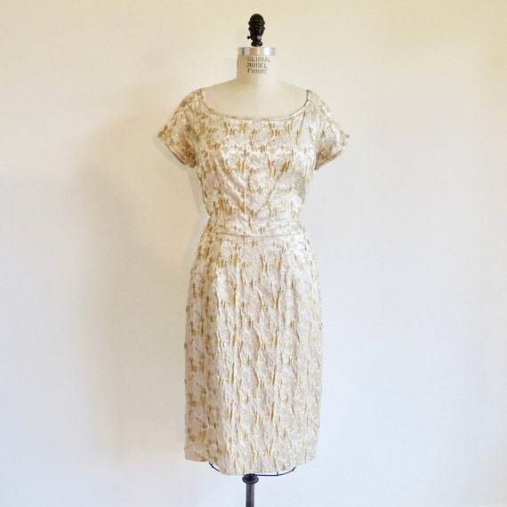Vintage 1950's 1960's Gold Silk Brocade Wiggle She