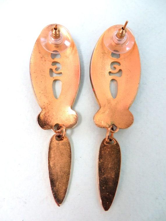 Vintage 1980's Edgar Berebi Fuchsia and Gold Long Dangle Drop Statement Earrings Posts, New Wave