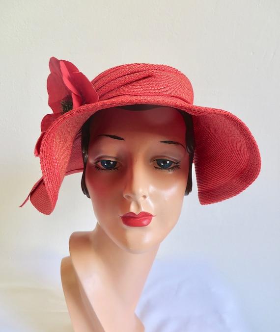 Vintage 1940's Coral Red Straw Wide Brim Hat Popp… - image 4