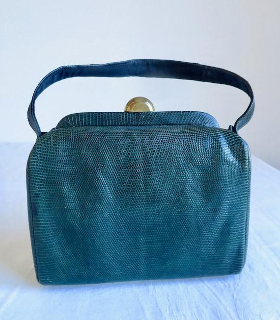 1940's 50's Green Snakeskin Leather Box Purse Str… - image 2