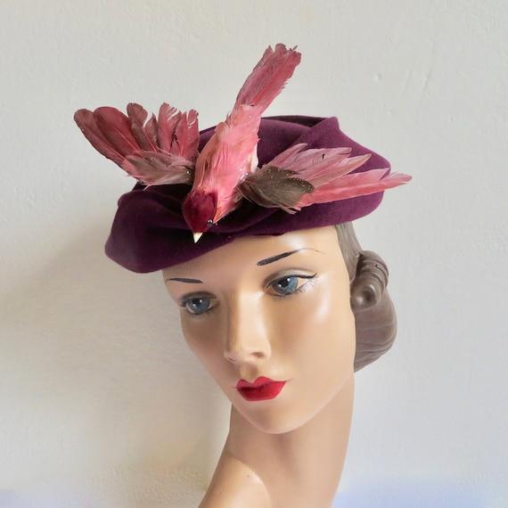 Vintage 1940's 1950's Magenta Purple Felt Hat with