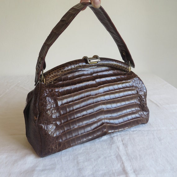 Vintage 1940's 50's Brown Alligator Purse Handbag