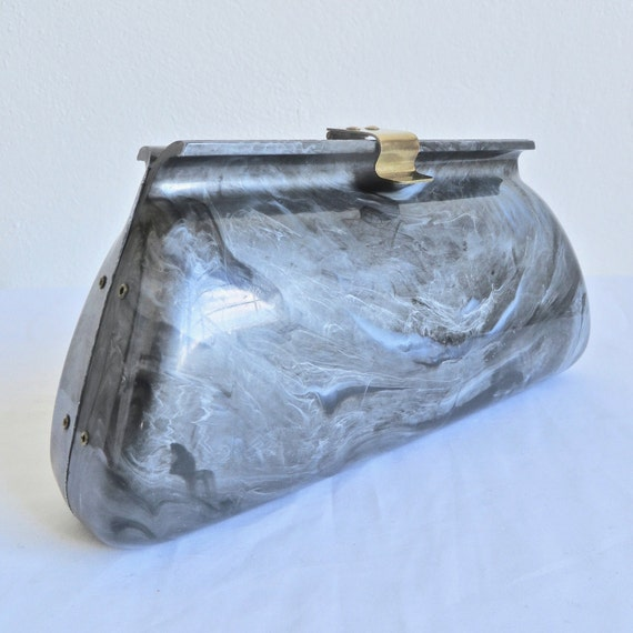 Vintage 1950's Gray Marbleized Lucite Clutch Purse
