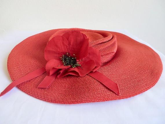 Vintage 1940's Coral Red Straw Wide Brim Hat Popp… - image 8