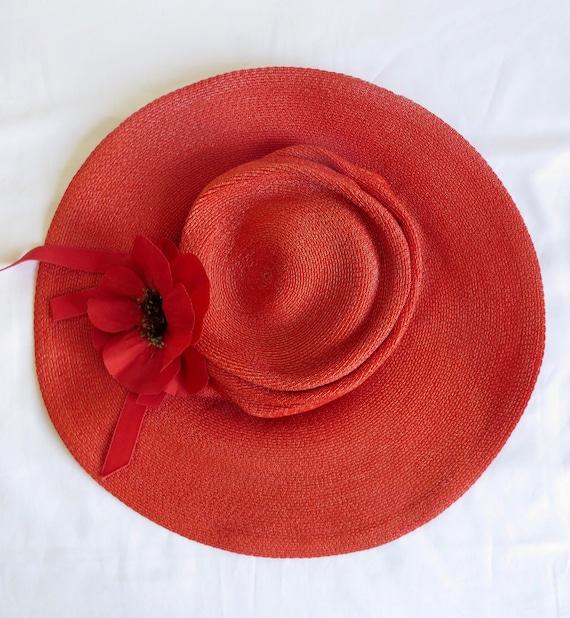 Vintage 1940's Coral Red Straw Wide Brim Hat Popp… - image 9