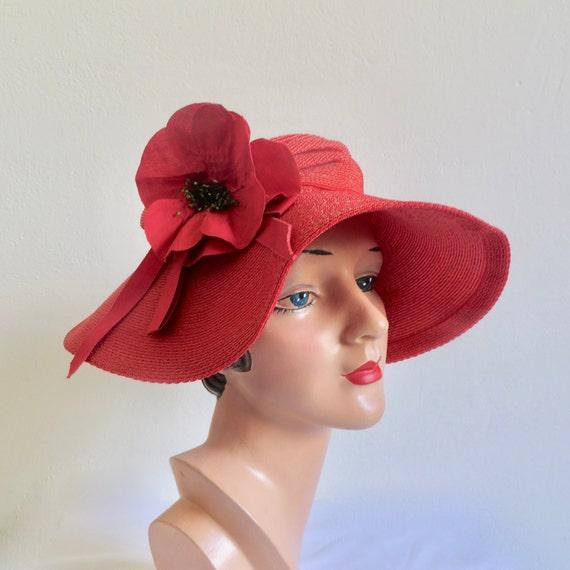 Vintage 1940's Coral Red Straw Wide Brim Hat Popp… - image 1