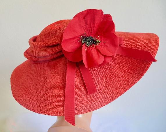 Vintage 1940's Coral Red Straw Wide Brim Hat Popp… - image 7