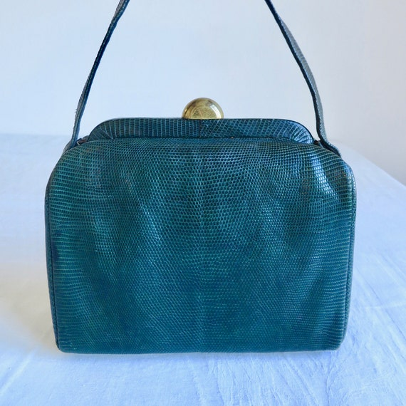 1940's 50's Green Snakeskin Leather Box Purse Stru