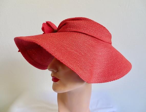 Vintage 1940's Coral Red Straw Wide Brim Hat Popp… - image 6